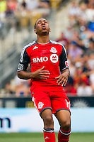 Reggie Lambe (19) of Toronto FC reacts to a missed scoring opportunity. The Philadelphia Union defeated Toronto FC 3-0 during a Major League Soccer (MLS) match at PPL Park in Chester, PA, on July 8, 2012.