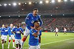 28.11.2019: Feyenoord v Rangers: Alfredo Morelos scelebrates his goal for Rangers with James Tavernier