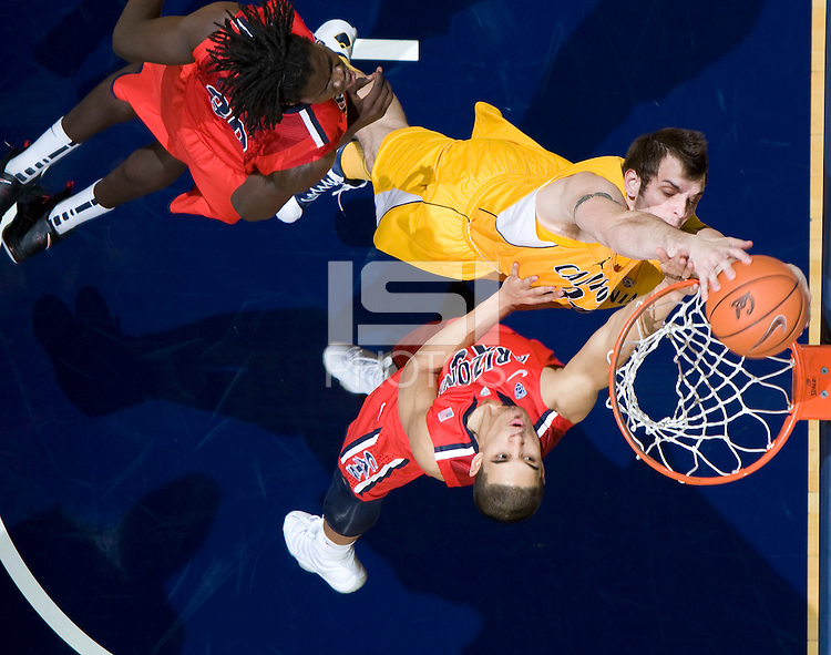 Robert Thurman of California dunks the ball into a basket during the game against Arizona at Haas Pavilion in Berkeley, California on February 2nd, 2012.  Arizona defeated California, 78-74.