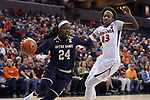 CHARLOTTESVILLE, VA - FEBRUARY 15: Notre Dame's Arike Ogunbowale (24) and Virginia's Aliyah Huland El (23). The University of Virginia Cavaliers hosted the University of Notre Dame Fighting Irish on February 15, 2018 at John Paul Jones Arena in Charlottesville, VA in a Division I women's college basketball game. Notre Dame won the game 83-69.