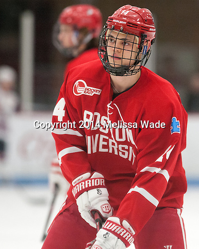 Dillon Lawrence (BU - 14) -The players being evaluated for the US Under-20 World Juniors team defeated the Boston University Terriers 5-2 (EN) on Friday, December 19, 2014, at Walter Brown Arena in Boston, Massachusetts.
