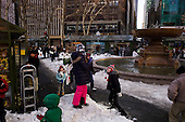 New  York, New York<br /> December 29, 2010<br /> <br /> Skating at Citi Pond at Bryant Park in Manhattan. Snow fight just outside of the rink.