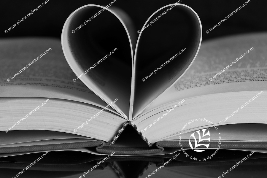 Black & white stock image of heart made with pages of book.<br />
