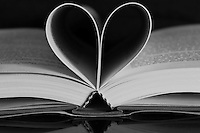 Black &amp; white stock image of heart made with pages of book.<br />