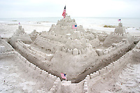 Sand castle overlooking the Gulf of Mexico.  North Redington Beach Tampa Bay Area Florida USA
