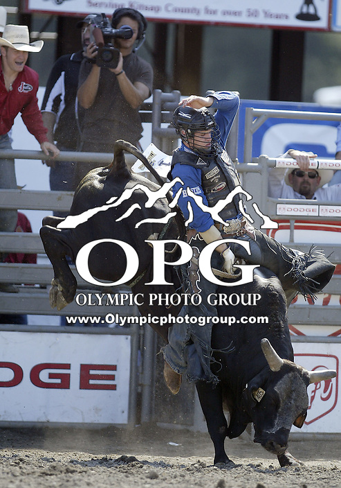 30 Aug 2009:  Jarred Craig riding the bull Wolf Tickets was not able to score on his second round ride during the Extreme Bulls tour stop in Bremerton, Washington.  Bremerton was the last stop in the Wrangler Million Dollar Pro Rodeo Silver Tour for 2009.
