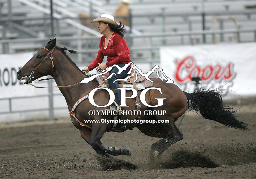 26 Aug 2010:  Timi Lickley scored a time of 17.72 in the slack Barrel Racing competition at the Kitsap County Stampede Wrangle Million Dollar PRCA Silver Rodeo Tour Bremerton, Washington.