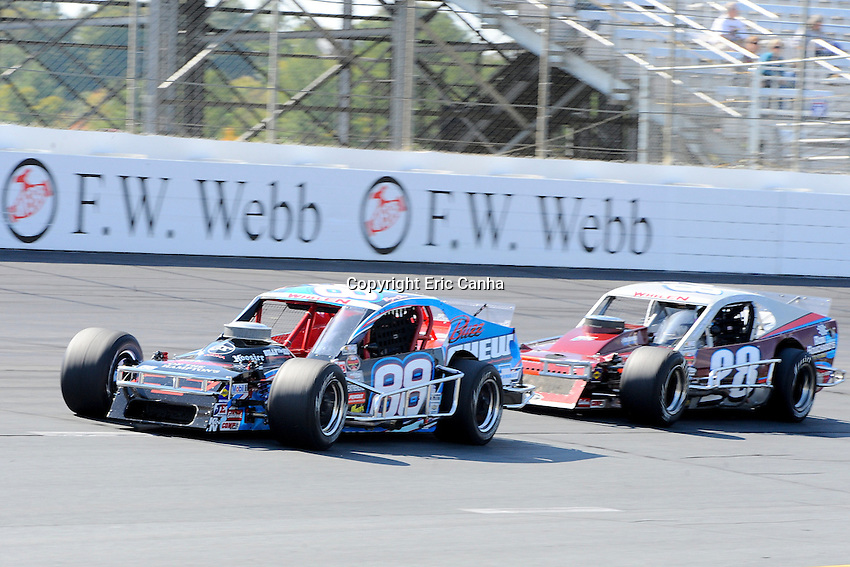September 22, 2012 Whelen Modified Tour driver Bryon Chew (88) driver Ed Flemke Jr. (28)  during the NASCAR Whelen Modified Tour F.W. Webb 100 race held at New Hampshire Motor Speedway in Loudon, New Hampshire.  Eric Canha/CSM