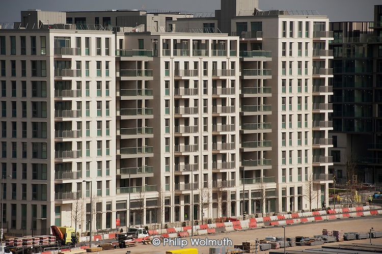 Construction of the London 2012 Olympic Athlete's Village, in Stratford.  The site has been sold to UK real estate investment company Delancey and the investment arm of the Qatari ruling family.