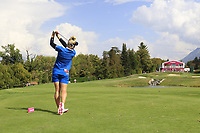Charley Hull (ENG) tees off the par3 5th tee during Thursday's Round 1 of The Evian Championship 2018, held at the Evian Resort Golf Club, Evian-les-Bains, France. 13th September 2018.<br /> Picture: Eoin Clarke | Golffile<br /> <br /> <br /> All photos usage must carry mandatory copyright credit (&copy; Golffile | Eoin Clarke)