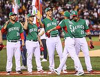 Vidal Nuno (38), Many Rodriguez, Giovanny Gallegos (28), Sebastian Elizalde (c), saludan a Sergio Romo.<br /> Aspectos del partido Mexico vs Italia, durante Cl&aacute;sico Mundial de Beisbol en el Estadio de Charros de Jalisco.<br /> Guadalajara Jalisco a 9 Marzo 2017 <br /> Luis Gutierrez/NortePhoto.com