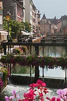 Europe/France/Rhône-Alpes/74/Haute-Savoie/Annecy:Le quai de l'évéché , vieilles maisons sur les bords du Thiou et en fond le Palais de l'Ile