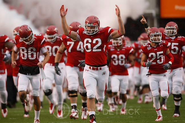 Chris Detrick  |  The Salt Lake Tribune .The Utes and Utah Utes long snapper Patrick Greene #62 run onto the field during the first half of the game at Rice-Eccles Stadium Saturday October 23, 2010.  The Utes are winning the game 24-6.