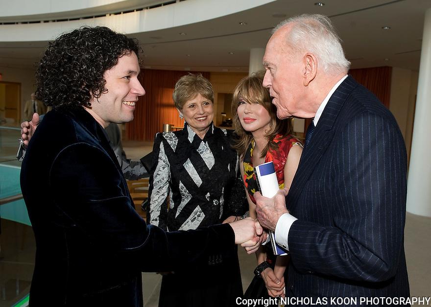 Gustavo Dudamel 3-5-11 The Renee and Henry Segerstrom Concert Hall. Dudamel shakes hands with Henry Segerstrom.