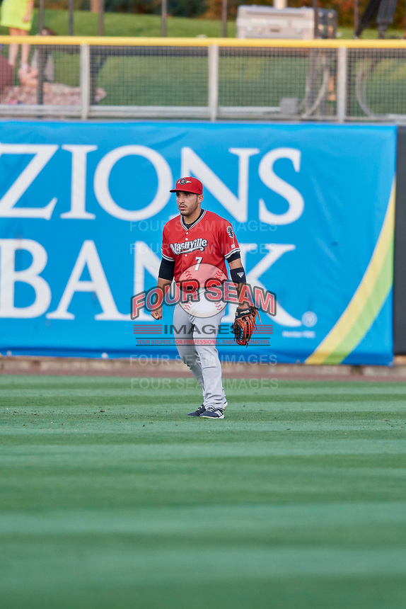 Ramon Laureano (7) of the Nashville Sounds during the game against the Salt Lake Bees at Smith's Ballpark on July 27, 2018 in Salt Lake City, Utah. The Bees defeated the Sounds 8-6. (Stephen Smith/Four Seam Images)