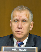 United States Senator Senator Thom Tillis (Republican of North Carolina) listens as Army General Curtis M. Scaparrotti and United States Air Force General Lori J. Robinson testify before the US Senate Committee on Armed Services during their confirmation hearing on Capitol Hill in Washington, DC on Thursday, April 21, 2016.<br /> Credit: Ron Sachs / CNP