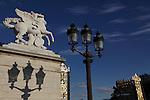The statue of Renommée decorated the entrance of Tuileries Garden face Concorde Square Place de la Concorde. Paris. France