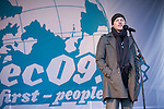 Thure Lindhardt (Denmark).Actor speaks to the rally. (Images free for Editorial Web usage for Fresh Air Participants during COP 15. Credit: Robert vanWaarden)