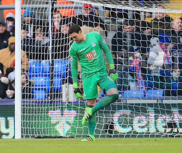 Crystal Palace's Alex McCarthy looks on dejected after Liverpool's opening goal<br /> <br /> - English Premier League - Crystal Palace vs Liverpool  - Selhurst Park - London - England - 6th March 2016 - Pic David Klein/Sportimage