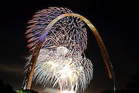 4th of July, 2010 fireworks in front of The Gateway Arch in St. Louis, MO.