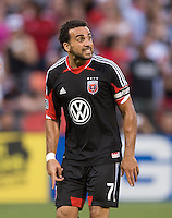 Dwayne De Rosario (7) of D.C. United calls for the ball during a Major League Soccer match at RFK Stadium in Washington, DC. D.C. United lost to the Vancouver Whitecaps, 1-0.