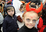 Pupil Sasha of  Ennis Holy family school attending a public performance in the Market before the annual  Clare Champion Halloween Party. Photograph by John Kelly.