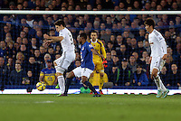 Liverpool, UK. Saturday 01 November 2014<br /> Pictured L-R: Federico Fernandez of Swansea closely marked by Samuel Eto'o of Everton <br /> Re: Premier League Everton v Swansea City FC at Goodison Park, Liverpool, Merseyside, UK.