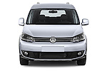 Car photography straight front view of a 2013 Volkswagen Caddy Cross 5 Door Mini MPV 2WD Front View