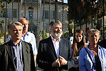 European Parliament deputies gather to attend a press conference in front of Orient House in East Jerusalem on April 26,2011. Photo by Sliman Khader