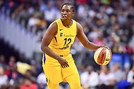 Washington, DC - August 17, 2018: Los Angeles Sparks guard Chelsea Gray (12) handles the ball during game between the Washington Mystics and Los Angeles Sparks at the Capital One Arena in Washington, DC. (Photo by Phil Peters/Media Images International)