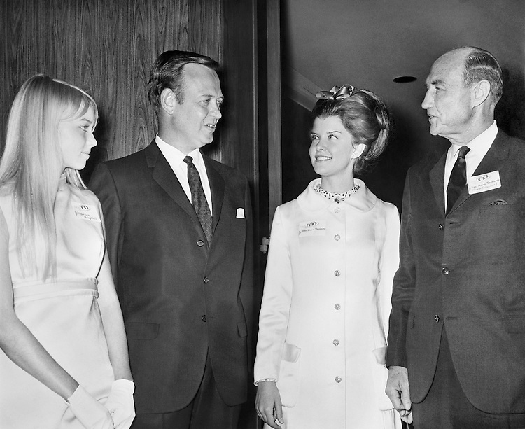 "Sen. James Strom Thurmond, R-S.C., wife Nancy Janice Moore and Rep. James Thomas ""Jim"" Broyhill, R-N.C., House of Representatives Member with his daughter Marilyn Broyhill. (Photo by CQ Roll Call)"