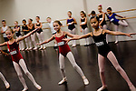 Alicia Day, 10, (center) of Loomis auditions for the Sacramento Ballet's Nutcracker production on Sunday, September 10, 2006. (Photo by Max Whittaker)