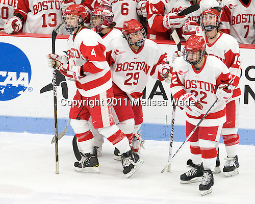 Kathryn Miller (BU - 4), Kerrin Sperry (BU - 1), Marie-Philip Poulin (BU - 29), Jill Cardella (BU - 22), Jenelle Kohanchuk (BU - 19) - The Boston University Terriers defeated the visiting Mercyhurst College Lakers 4-2 in their NCAA Quarterfinal matchup on Saturday, March 12, 2011, at Walter Brown Arena in Boston, Massachusetts.
