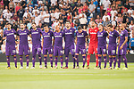 Fiorentina's players keep silence minute to victims of terrorist attack on Barcelona during XXXVIII Santiago Bernabeu Trophy at Santiago Bernabeu Stadium in Madrid, Spain August 23, 2017. (ALTERPHOTOS/Borja B.Hojas)