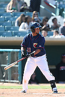 Carlos Perdomo #11 of the Lancaster JetHawks bats against the Lake Elsinore Storm at The Hanger on April 6, 2014 in Lancaster, California. Lancaster defeated Lake Elsinore, 7-4. (Larry Goren/Four Seam Images)