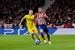 Atletico de Madrid's Lucas Hernandez and Borussia Dortmund's Marco Reus during UEFA Champions League match between Atletico de Madrid and Borussia Dortmund at Wanda Metropolitano Stadium in Madrid, Spain. November 06, 2018. (ALTERPHOTOS/A. Perez Meca)