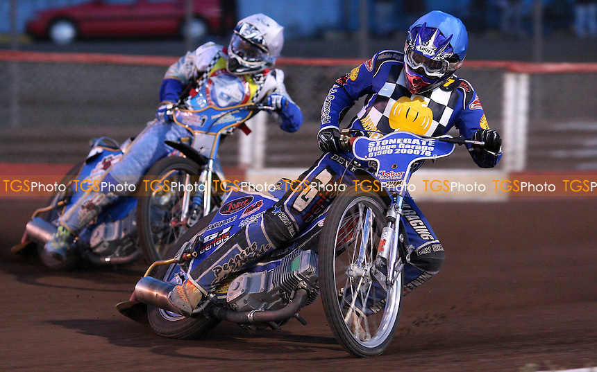 Heat 8: Ben Hopwood (blue) and Rob Smith (white) - Hackney Hawks vs Isle of Wight Islanders - National League Speedway at Arena Essex Raceway - 08/07/11 - MANDATORY CREDIT: Rob Newell/TGSPHOTO - Self billing applies where appropriate - 0845 094 6026 - contact@tgsphoto.co.uk - NO UNPAID USE.