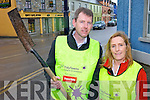 DIGGING DEEP: Committee members John Hannon and Maura Hanrahan getting prepared for the Ballybunion Tidy Towns effort this year.
