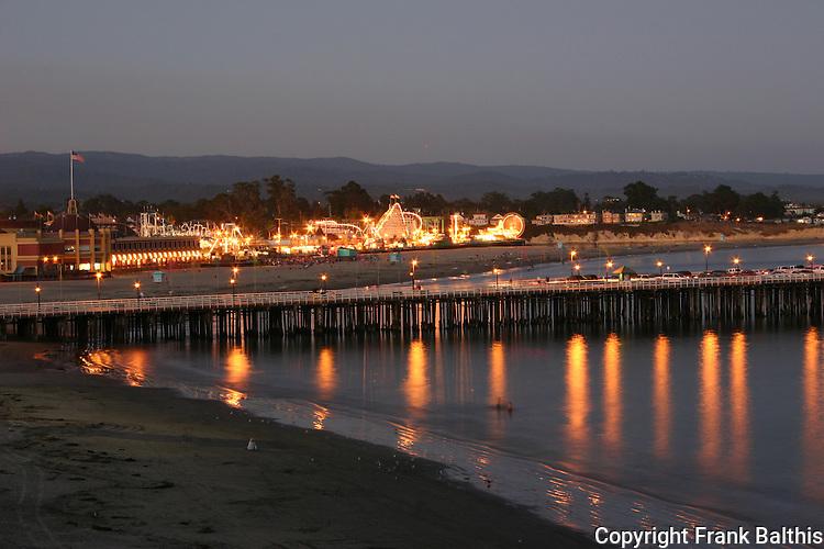 Santa Cruz Muni Wharf and Boardwalk at dusk