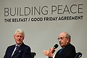 Former US President Clinton listens to US Senator George J. Mitchell  during a panel discussion at Queen's University Belfast, Tuesday, April 10th, 2018. Tuesday marks 20 years since politicians from Northern Ireland and the British and Irish governments agreed what became known as the Good Friday Agreement. It was the culmination of a peace process which sought to end 30 years of the Troubles. Two decades on, the Northern Ireland Assembly is suspended in a bitter atmosphere between the two main parties. Photo/Paul McErlane