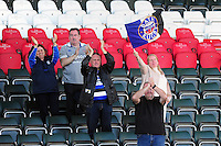 Bath Rugby fans in the crowd cheer their team on after the match. Aviva Premiership match, between Leicester Tigers and Bath Rugby on September 25, 2016 at Welford Road in Leicester, England. Photo by: Patrick Khachfe / Onside Images