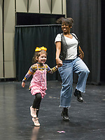 NWA Democrat-Gazette/BEN GOFF @NWABENGOFF<br /> Avery Beam, 5, of Fort Smith auditions with casting director Dayna Dantzler Friday, March 1, 2019, during casting for the role of 'Lulu,' the lead character's 5-year-old daughter, in the upcoming production of 'Waitress' at the Walton Arts Center in Fayetteville.