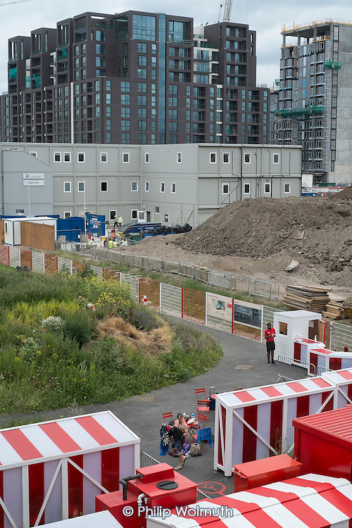 Changing tents at the Pond Club on the Kings Cross development site, London.