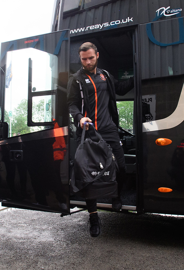 Blackpool's Jimmy Ryan gets off the team bus after arriving at the ground<br /> <br /> Photographer Chris Vaughan/CameraSport<br /> <br /> The EFL Sky Bet League One - Scunthorpe United v Blackpool - Saturday 9th September 2017 - Glanford Park - Scunthorpe<br /> <br /> World Copyright &copy; 2017 CameraSport. All rights reserved. 43 Linden Ave. Countesthorpe. Leicester. England. LE8 5PG - Tel: +44 (0) 116 277 4147 - admin@camerasport.com - www.camerasport.com