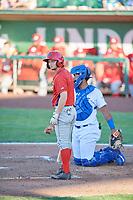 Matt McCann (1) of the Orem Owlz bats against the Ogden Raptors in Pioneer League action at Lindquist Field on June 27, 2017 in Ogden, Utah. Ogden defeated Orem 14-5. (Stephen Smith/Four Seam Images)