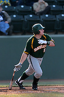 Max Muncy #9 of the Baylor Bears bats against the UCLA Bruins at Jackie Robinson Stadium on February 25, 2012 in Los Angeles,California. UCLA defeated Baylor 9-3.(Larry Goren/Four Seam Images)