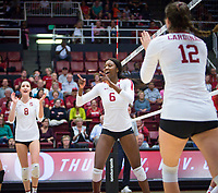 STANFORD, CA - November 4, 2018: Michaela Keefe, Tami Alade, Audriana Fitzmorris at Maples Pavilion. No. 2 Stanford Cardinal defeated the Utah Utes 3-0.