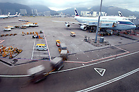 Chek lap Kok Airport, Hong Kong .Cathay Pacific planes wait on the tarmac at Hong Kong's Chep Lap Kok Airport..16-JUL-04