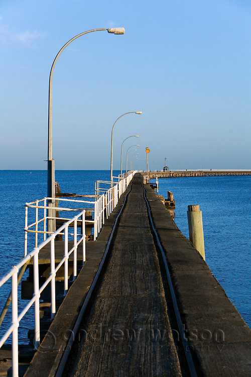 View along Busselton jetty - the longest timber jetty in the world at 2 kilometres long.  Busselton, Geographe Bay, Western Australia, AUSTRALIA.