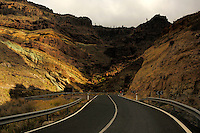 Rugged Canarian mountain pass on the west coat of Gran Canarian, Mogan to Agate road. Gran Canaria, Canary Islands, Spain.